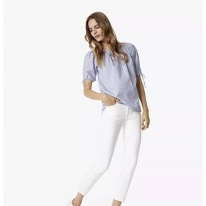 Tory Burch White/Blue Ariana Ombré Striped Blouse